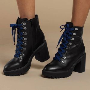 New Steve Madden Black Leather Royce Combat Boots
